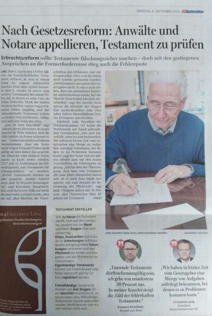 Bericht über ungültige Testamente OÖN 8.9.2020, Dr. Lorenz Kirschner