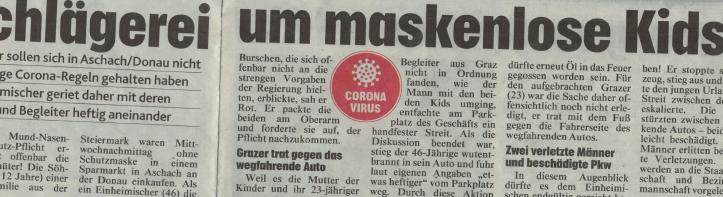 Krone Artikel Schlägerei Corona Maske